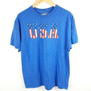 Hybrid USA Red White & Blue T-Shirt Size Large